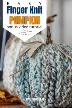 Learn how to make this fun DIY fall craft. It's easy to do and looks beautiful with your fall decor. This finger knit technique can be learned in a few minutes.  This is a quick, inexpensive and easy project that adds texture for your home fall decor. Not only is it for adults to make, but kids can learn this technique too. Get your supplies from Dollar Tree of upcycle thrifted pumpkins