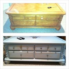 Refinished coffee table with replaced hardware *****I have this exact coffee table!