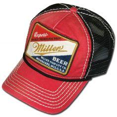 Miller Beer Red Black Trucker Hat. Officially licensed from Miller! Black  Trucker Hat c38a13642545