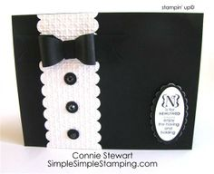 Black & White Tuxedo Card...with black buttons..FLASH CARDS 2.0.