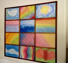 A beautiful way to display children's watercolor artwork