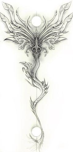 Draconic Design (Exileden on deviantART, Tattoos 3d, 1 Tattoo, Badass Tattoos, Back Tattoos, Great Tattoos, Unique Tattoos, Beautiful Tattoos, Body Art Tattoos, Small Tattoos