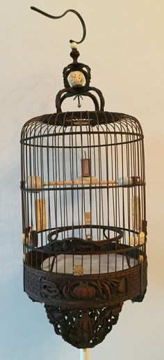 100 years old vintage handcraft bamboo birdcage, all the parts are made from Ivory and Porcelains, it seemed perfect and beautiful shape.