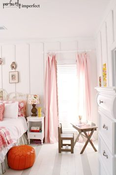sweet girl's room with striped floors and wall paneling by @Shaunna West Chalk Paint Tutorial, Open Shelving, All About Time, Household, Bedrooms, Bedroom, Shelves, Open Shelves, Shelving