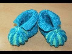 Вязание пинеток спицами для начинающих .  Knitting needles for beginners bootees