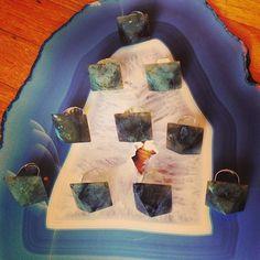 Labradorite Pyramid Rings
