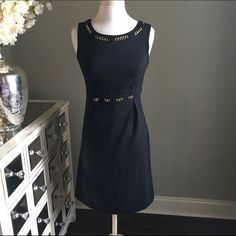 Black Office Dress with Gold accents Merona - Size 8 - black color - gold metal accents - excellent condition - hidden side zipper closure - fully lined - reasonable offers welcomed - bundle discounts available Merona Dresses