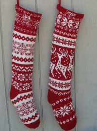 Knit Christmas Stockings - Red White