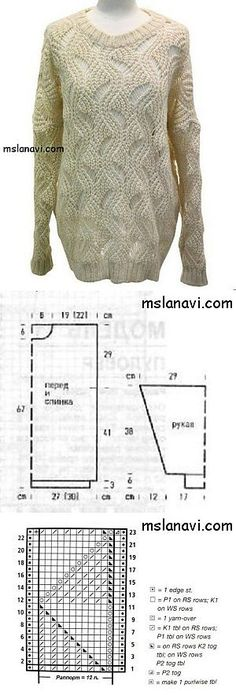 Женский свитер спицами с интересным узором   Вяжем с Ланой