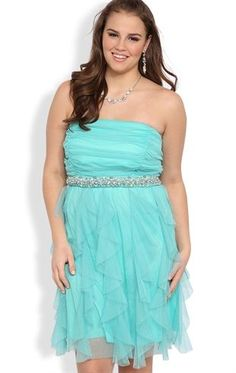 Deb Shops Plus Size Strapless Short #Prom #Dress with Stone Waist, Tendril Skirt $86.90
