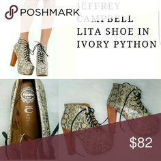 Jeffrey Campbell Lita Ex Ankle Boots  Python Up for sale Jeffrey Campbell Lita Ex Ankle Boots Platform Python Snake Embossed Booties  Size 5M Jeffrey Campbell Shoes Lace Up Boots