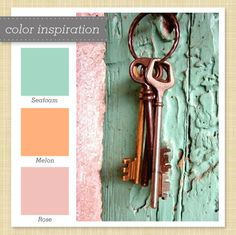 seafoam and coral - mermaid nursery colors Coral Colour Palette, Seafoam Green Color, Orange Color Palettes, Green Colors, Teal, Colours, Jade Green, Turquoise, Color Melon