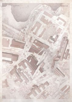 site plan with texture overlays and monochromatic colouring // Luigi Valente // Aalto University // competition entry // click to read on #arquitecturabeta