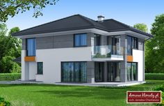 Design of house with a garage for 2 cars. It povides space for additional service or office, that is separated from the main building. This is an energy saving building. Garage Design, House Design, 2 Storey House, Garage House, My Dream Home, Facade, Shed, Outdoor Structures, Luxury