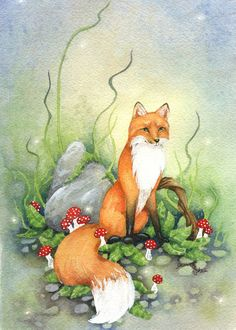 Little Fox - 5x7 Watercolor Print - woodland. animal. cute. green. nature. fine art. fairy tale. illustration. orange. $10.00, via Etsy.