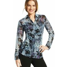 Cabi 609 Small Purple Blue Sheer Python Print Button Down Blouse  | eBay