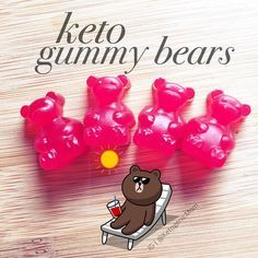 Keto gummy bears So good! I use a gummy bear mold. Here's my recipe: Keto Gummies Makes 120 Gummies 5 Packets of Knox Unflavored Gelatin pack of Flavored Koolaid (unsweetened) Cup of Erythritol Cup of Water Boil water and add Kool aid & Erythr Low Carb Candy, Keto Candy, Low Carb Sweets, Low Carb Desserts, Diabetic Desserts, Ketogenic Recipes, Keto Recipes, Ketogenic Diet, Ketosis Diet