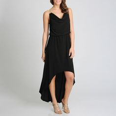 Betsy & Adam Women's Black Metallic Strap High-low Evening Dress