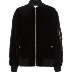 Iro Samya Bomber Jacket ($504) ❤ liked on Polyvore featuring outerwear, jackets, bomber jacket, blouson jacket, bomber style jacket, iro jacket and flight jacket