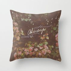 Red and Pink Ivy Garden Landscape Illustrated Typography Throw Pillow Cover Red Home Decor Photography Decorative Pillow Cover Nature