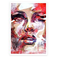 "Title: ""RED PORTRAIT""Paper Size: 42x29.7cm/16.5x11.7inches (image has a small white border of approx 1cm to allow for matting and framing)This is an open edition print, based on my original Painting.Giclee Print on Heavyweight 315gsm Acid"