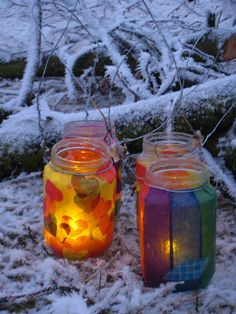 Decorated jam jars in the snow by Bristol Parenting Society, via Flickr