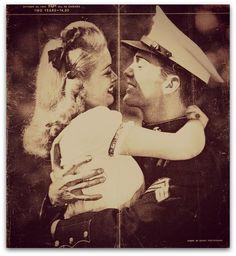 USMC - Marines - Devil Dogs - Leathernecks - Grunts - Jarheads - Semper Fi - Marine Love - Oorah *nothing sweeter :) Romance Vintage, Style Vintage, Vintage Love, Vintage Signs, Marine Love, Vintage Couples, Vintage Couple Pictures, Couple Pics, Military Love