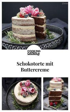 Chocolate cake with buttercream, chocolate cake, chocolate cake, cake recipe, nak . Chocolate Chip Recipes, Chocolate Pies, Mint Chocolate Chips, No Cook Desserts, Mini Desserts, Health Desserts, Health Foods, Cake Boss Bakery, Naked Cakes