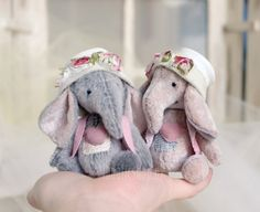 Collectable handmade  artist miniature elephants by LunaticShop