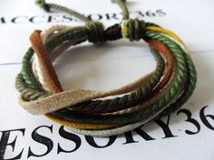 Soft Leather and Cotton Ropes Woven Cuff Bracelet  by accessory365, $1.99