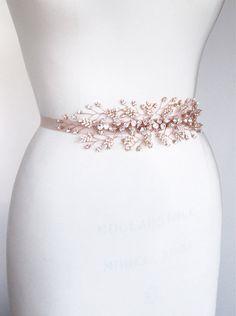 Bridal crystal belt sash, Swarovski bridal belt in rose gold, Rhinestone wedding belt sash, Bridal crystal applique, Rose gold, gold, silver