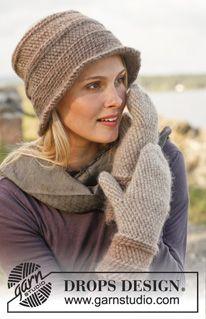 """Dublin - Chapeau et moufles DROPS en crochet bosniaque, en """"Eskimo"""". - Free pattern by DROPS Design"""