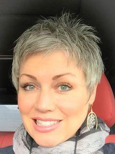 Short Pixie Haircuts for Gray Haircut For Older Women, Short Hair Cuts For Women, Short Hair Styles, Undercut Hairstyles Women, Pixie Hairstyles, Short Gray Hairstyles, Gorgeous Hairstyles, White Hair Treatment, Short Grey Hair