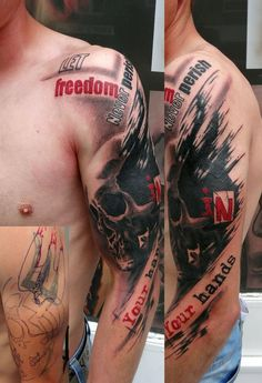 History <b>Trash polka.</b> This is trash polka design and color scheme. Bull Tattoos, Life Tattoos, Body Art Tattoos, Tattoos For Guys, Rock Tattoo, Tatoos, Skull Hand Tattoo, Skull Sleeve Tattoos, Tattoo Sleeve Designs