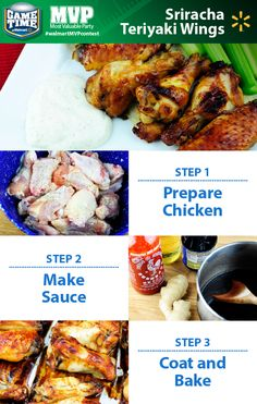 Bring the heat to your football party with Sriracha Teriyaki Wings! Looking for a tailgating recipe or a perfect snack for watching football? This recipe takes crowd-pleasing chicken wings to a new level! Combine the spicy kick of Sriracha with savory soy sauce, ginger and rice vinegar for a snack that's great for the game. Share YOUR favorite Game Time recipe for a chance to win a trip L.A. To enter, just post a photo of your recipe on Twitter or Instagram with #walmartMVPcontest.