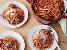 Spicy Turkey Meatballs and Spaghetti Recipe : Ina Garten : Food Network - FoodNetwork.com