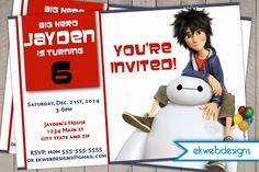 Disney Big Hero 6 Birthday Invitation- Big Hero 6 Invite