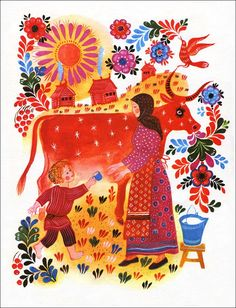 Slavic Folk Art :  a very nice style for children to get inspiration from with painting - stylised, bright and depicting a pastime through imagery