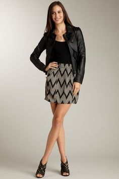 leather jacket + chevron skirt