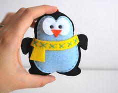 Christmas Ornament Felt Penguin Christmas Ornament by Mariapalito