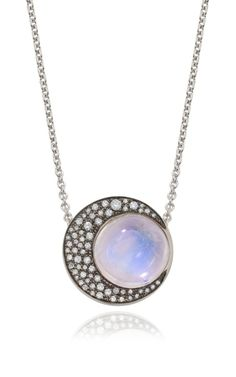 Blue Moonstone Sphere And Crescent Moon Pendant Necklace by Noor Fares for Preorder on Moda Operandi