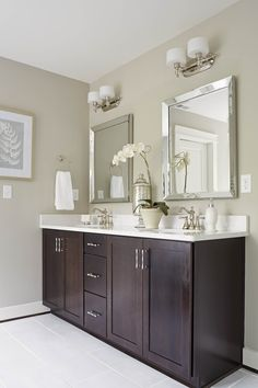 When selecting #bathandvanity fixtures, keep in mind that your #lighting should not exceed the width of the vanity mirror. #lightingtip | Image featuring Progress Lighting's Fortune collection