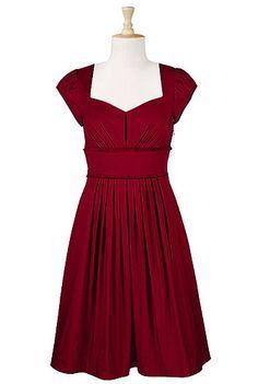 eShakti Pleated frill trim poplin dress