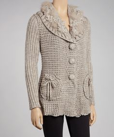 Taupe Faux Fur Wool-Blend Button-Up Cardigan | Daily deals for moms, babies and kids