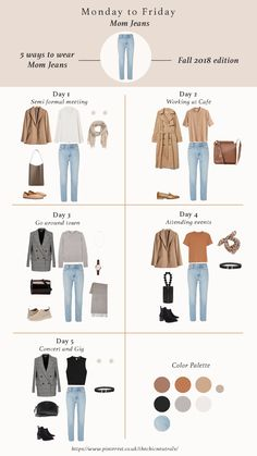 5 ways of styling mom jeans basic jeans for fall 2018 fall outfits for women fall fashion trend items work outfits chic outfits casual outfits fallfashion fallstyle falloutfits capsulewardrobe workoutfits ootd jeans denim Capsule Outfits, Fashion Capsule, Mode Outfits, Travel Outfits, 20s Outfits, Summer Outfits Women 20s, Winter Travel Outfit, Woman Outfits, Spring Outfits