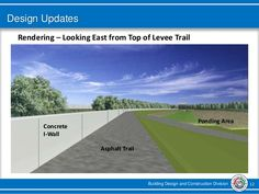 Building Design and Construction Division 12 Design Updates Rendering – Looking East from Top of Levee Trail Asphalt Trail...