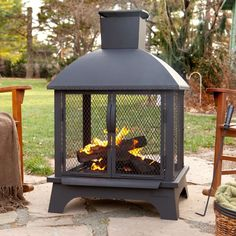 Outdoor Patio Fireplace Wood Burning Fire Pit Chimney Deck Backyard Metal Heater #OutdoorPatioFireplace