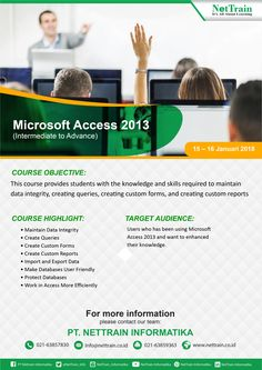 Training Microsoft Access 2013 (Intermediate to Advance)  This Course Provides students with knowledge and skills required to maintain data integrity, creating queries, creating custom forms, and creating custom reports.  #InfoNetTrain #Training #MicrosofAccess2013 #DataIntegrity #CustomForms #CustomReports #Data