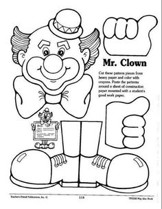 * Clown sign or work holder Clown Crafts, Circus Crafts, Circus Activities, Spring Activities, Educational Activities, Carnival Themes, Circus Theme, Colouring Pics, Coloring Pages