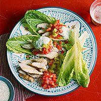 Lettuce Wrap Gyros with Chicken and Green Tzatziki.  This is so delicious.  We made the yogurt sauce with fresh tarragon and Italian parsley, and marinated an extra 15 minutes on the meat.  The flavor is out of this world. Served with wild rice and the recommended sides.